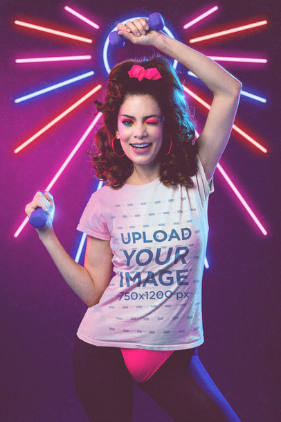 80's-Themed Mockup of a Woman Doing an Aerobics Routine with a T-Shirt M11228