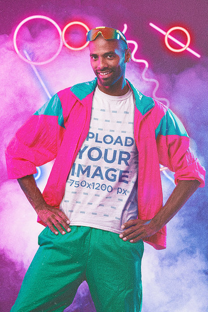 T-Shirt Mockup of a Man Wearing 80's-Style Activewear m11186