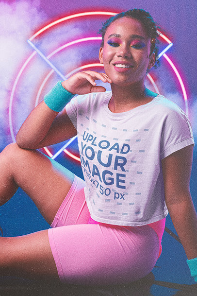 T-Shirt Mockup of a Woman in 80's Activewear m11210