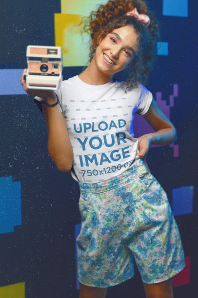 80's-Themed T-Shirt Mockup of a Woman Holding an Instant Camera m11598