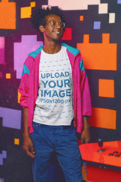 T-Shirt Mockup of a Happy Man in an 80s-Styled Outfit m11608-r-el2