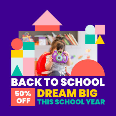 Instagram Post Design Template for a Big Back-to-School Discount 4211-el1