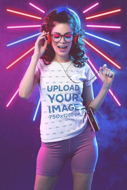 T-Shirt Mockup of a Woman Listening to Music on a Cassette Player M11223