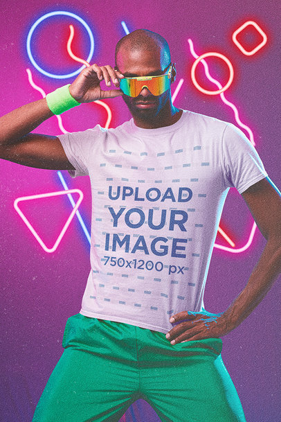 T-Shirt Mockup of a Serious-Looking Man with Retro Sunglasses m11185