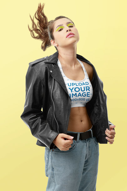 Sports Bra Mockup Featuring a Rockstar with Colorful Makeup m10751