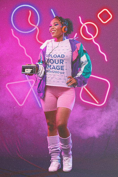 80s-Themed T-Shirt Mockup of a Woman Listening to Music on a Cassette Player m11201