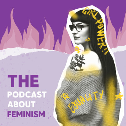Cover Design Template for a Feminism-Themed Podcast 4517