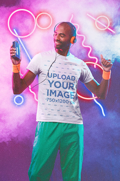 Retro-Themed T-Shirt Mockup of a Man Enjoying Some Music with His Cassette Player m11188