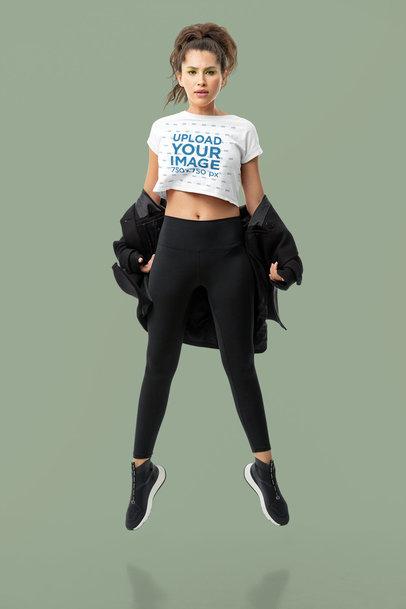 Dynamic Mockup of a Dancer Wearing a Crop Top In a Studio m10766