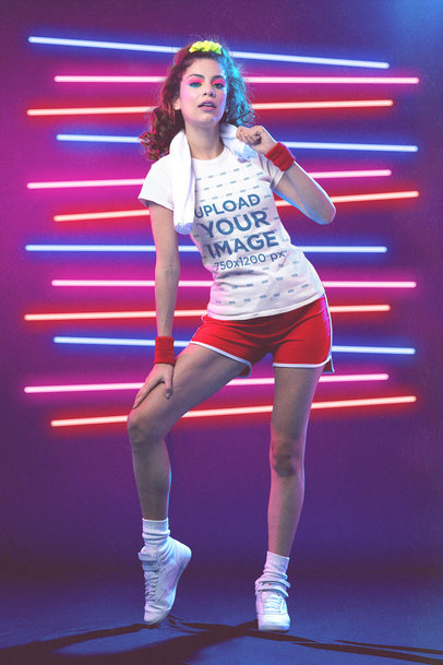 T-Shirt Mockup of a Woman Wearing an 80's Styled Outfit M11225