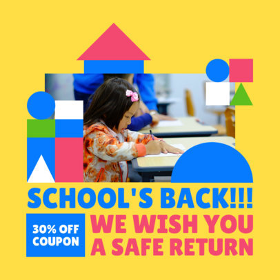 Back-to-School-Themed Instagram Post Design Template With a Small Kid Picture 4211c-el1