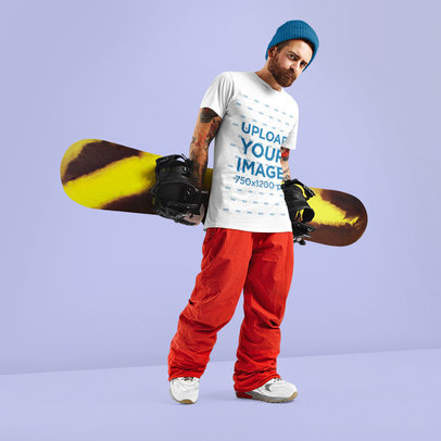 T-Shirt Mockup of a Bearded Man with a Snowboard M6349-r-el2