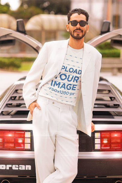 Retro-Styled T-Shirt Mockup Featuring a Bearded Man Leaning Against a Vintage Car m12024