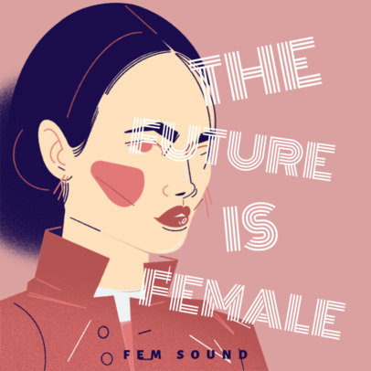 Illustrated Cover Template for a Feminism Podcast 4518a