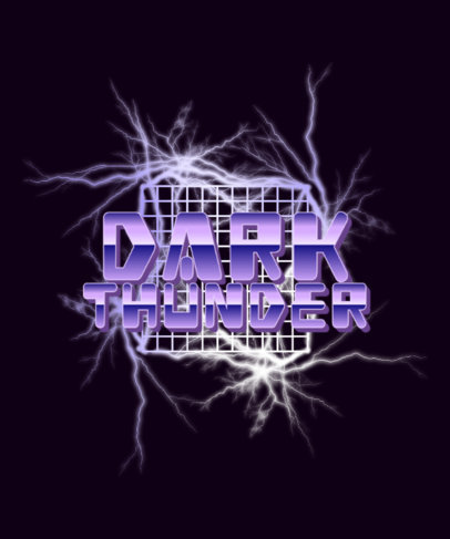 Retro T-Shirt Design Maker With Thunder Graphics and a Synthwave Aesthetic 4515f