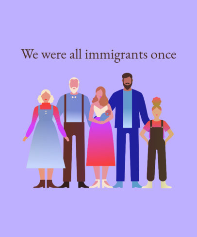 Illustrated T-Shirt Design Creator with a Pro Immigration Quote 3883b