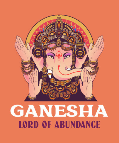 T-Shirt Design Generator Featuring an Illustration of Ganesha 3890d