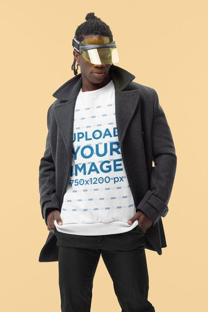 Sweatshirt Mockup of a Fashionable Man Posing in a Studio m10786