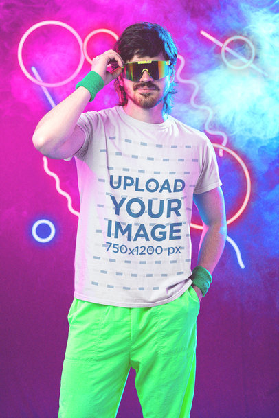 T-Shirt Mockup of a Man Wearing an '80s-Styled Athleisure Outfit M11214