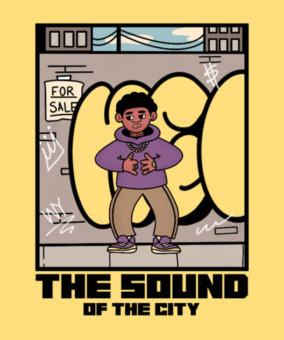 T-Shirt Design Template Featuring a Hip-Hop-Inspired Illustration 3900