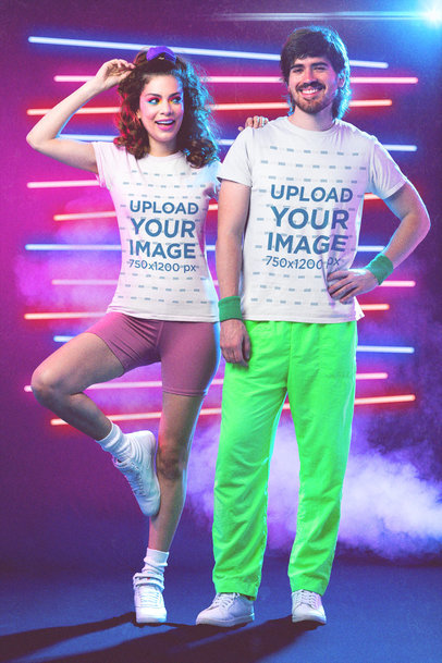 T-Shirt Mockup of a Couple Wearing '80s Styled Activewear M11221