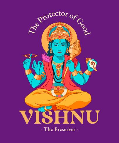 Hinduism T-Shirt Design Maker with an Illustration of Vishnu 3891a