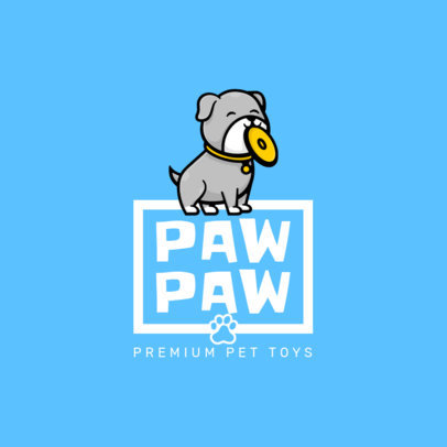Cute Logo Maker for a Pet Shop with a Dog Holding a Frisbee 4243a-el1