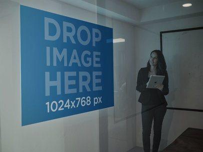 Mockup of a Woman Checking a Presentation a16317