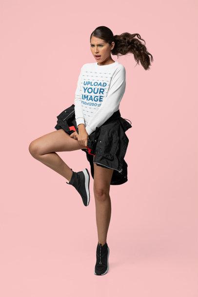 Sweatshirt Mockup of a Cool Woman Dancing in a Studio m10761
