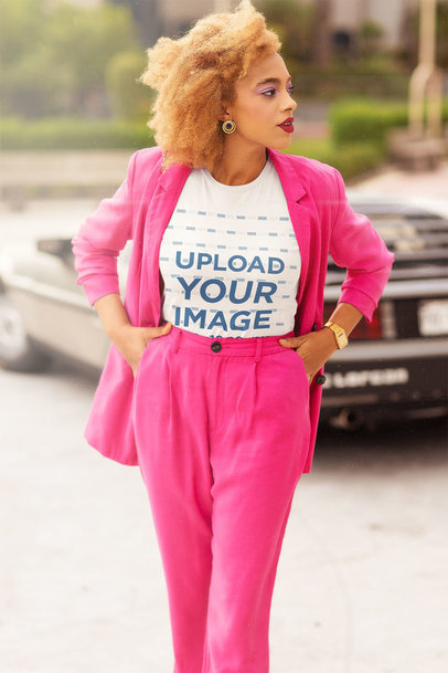 T-Shirt Mockup Featuring a Woman in an Elegant Retro Outfit m12034