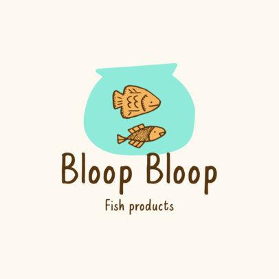 Pet Store Logo Maker Featuring a Cartoon of Fish in a Bowl 4235f-el1