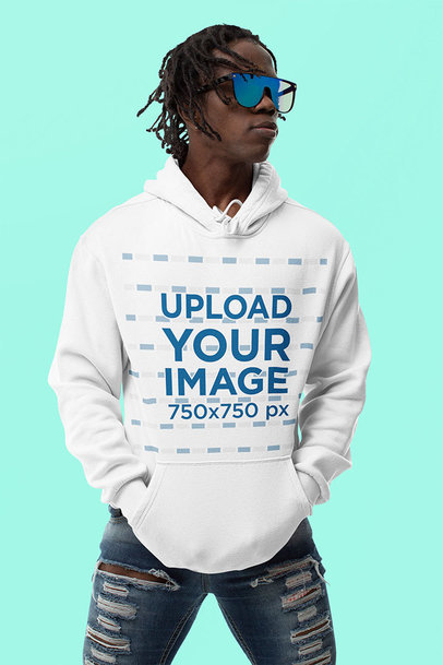 Hoodie Mockup of a Cool Man With Sunglasses in a Studio m10778