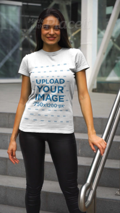T-Shirt Video of a Happy Woman Walking Down Some Stairs 3620v
