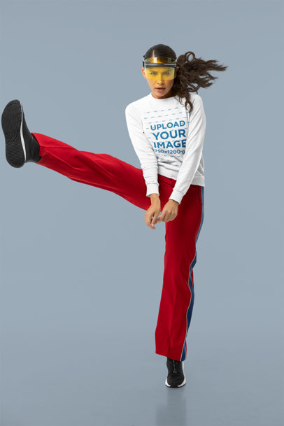 Studio Mockup of a Fierce Dancer Wearing a Sweatshirt m10757