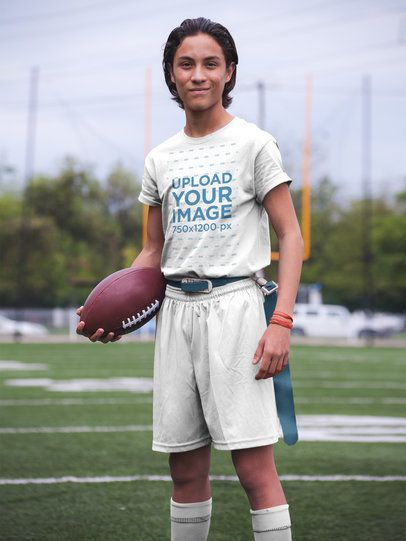 Custom Football Jerseys - Hispanic Teenager Posing at the Field a16580