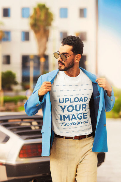 T-Shirt Mockup of a Man with an 80's Miami Vice-Inspired Outfit m12015