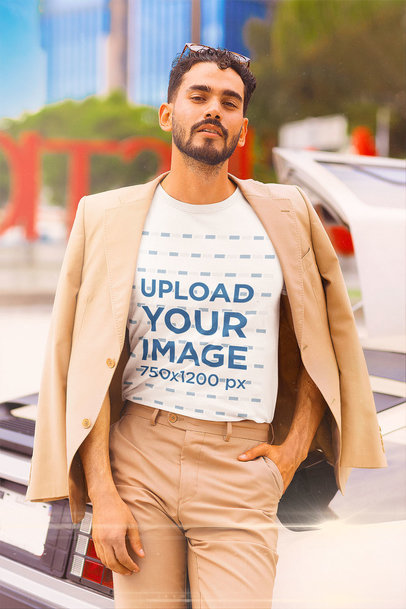 T-Shirt Mockup of a Man in a Fancy Retro Outfit m12026