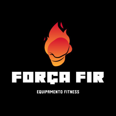 Online Logo Maker for a Fitness Gear Store Featuring a Flaming Skull 4530d