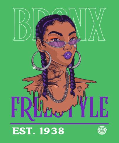 T-Shirt Design Maker Featuring an Illustration of a Female Rapper 3896a