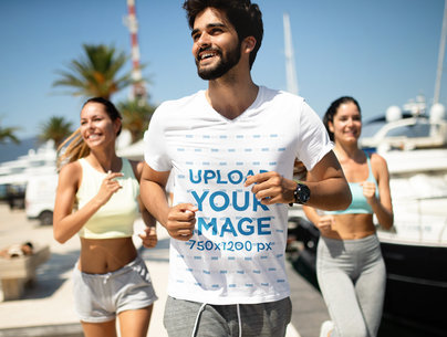 V-Neck Tee Mockup of a Young Man Jogging with Friends 40698-r-el2