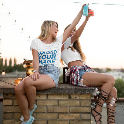 T-Shirt Mockup of a Young Woman Drinking with a Friend at a Party 41782-r-el2