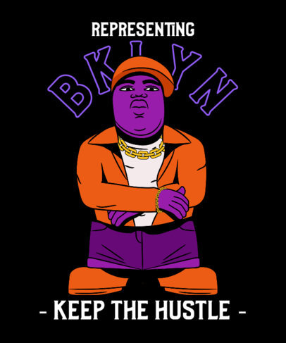 Illustrated T-Shirt Design Maker Featuring a Notorious BIG-Inspired Character 3897a