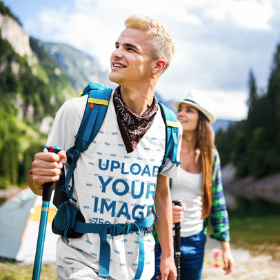 T-Shirt Mockup of a Young Man Hiking with Friends 40042-r-el2