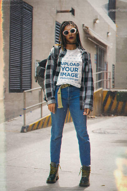 T-Shirt Mockup of a Woman with Sunglasses Wearing a Grunge-Inspired Outfit M12523