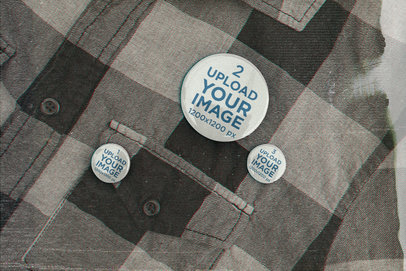 Mockup Featuring Three Buttons on a Flannel Garment m12557