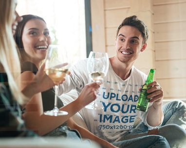 T-Shirt Mockup of a Man Drinking With Friends 41090-r-el2