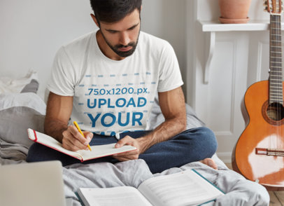 T-Shirt Mockup of a Man Studying in His Room m2941-r-el2