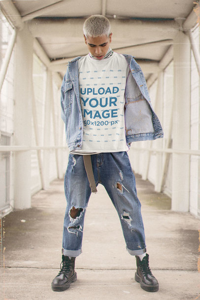 T-Shirt Mockup of a Man in a Cool 90s-Inspired Outfit m12505