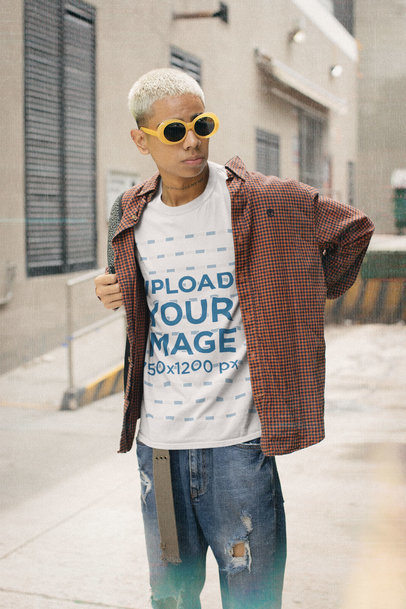 90s-Themed T-Shirt Mockup of a Man With Short-Bleached Hair m12510