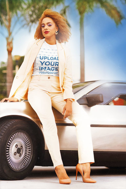 T-Shirt Mockup of a Fabulous Woman with an '80s Aesthetic m12032